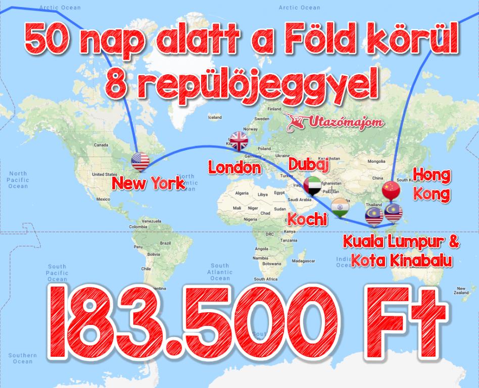 8 repülőjeggyel a Föld körül 183.500 Ft-ért!