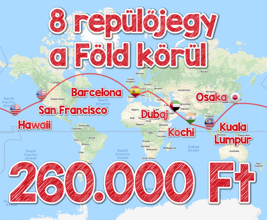 8 repülőjegy a Föld körül hét fantasztikus állomásra 260.000 Ft-ért!