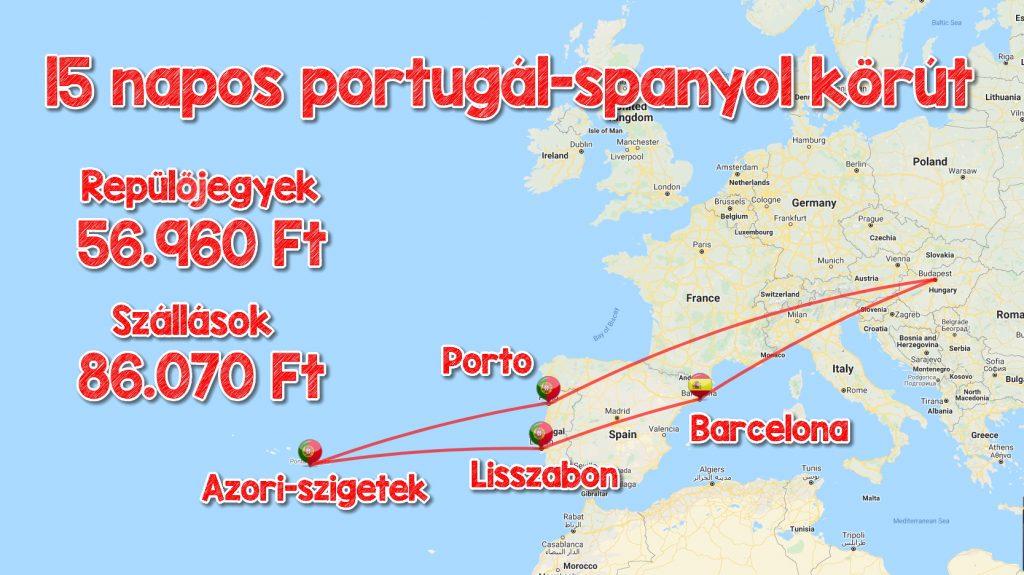 Portugál-Spanyol körút Azori-szigetekkel, minden szállás és repjegy 143.000 Ft