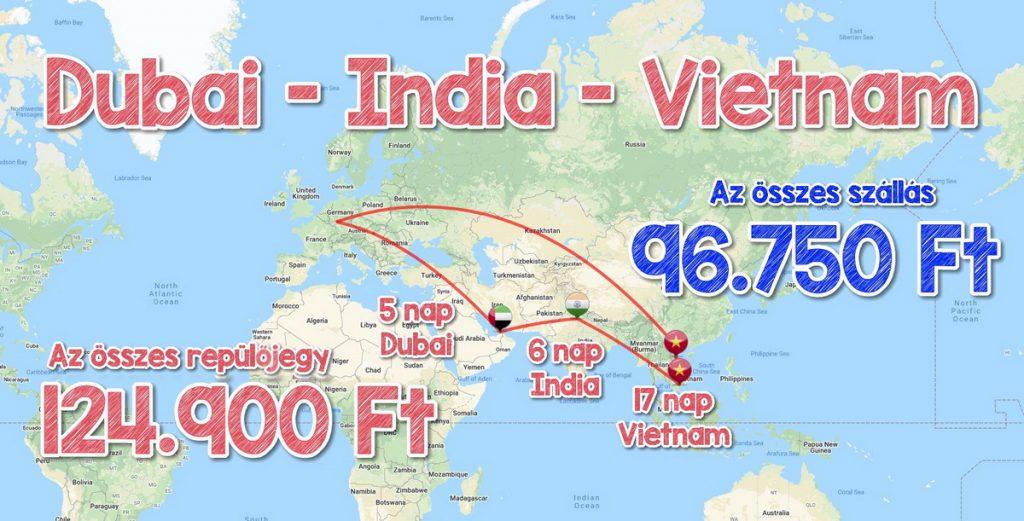 Dubaj, India, Vietnam körút Budapestről repjeggyekkel, szállásokkal 221.650 Ft