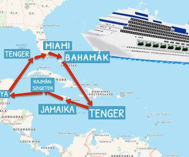 Álomutazás: Jamaika, Kajmán-szigetek, Mexikó, Bahamák, Miami 14 emeletes luxus óceánjáróval!