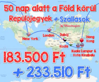8 repülőjeggyel a Föld körül, szállásokkal 417.010 Ft-ért!