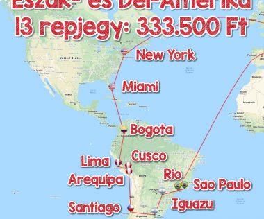 Észak- és Dél-Amerika legszebb helyei 13 repjeggyel 333.500 Ft-ért!