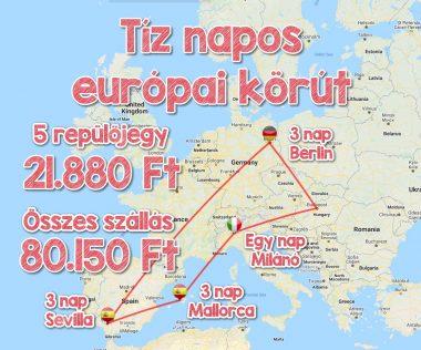 10 napos német-spanyol-olasz körtúra repjegyekkel és szállással 102.030 Ft