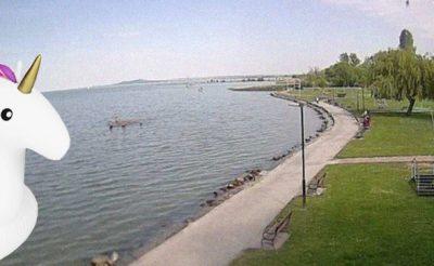 Itt a jó idő: már ma fürödtek a Balatonban!