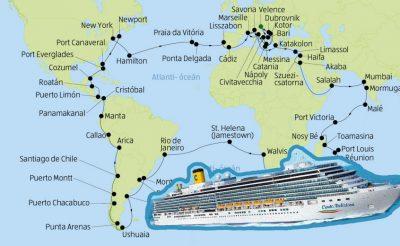 Ilyen még nem volt: 128 napos Világkörüli út óceánjáróval többek között Maldív-szigetek-i, indiai, madagaszkári, reunioni, brazil, argentín, chile-i, new-york-i stb megállókkal!